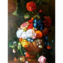Oferta! Hermosa Pintura Al Óleo Flores Y Rosas