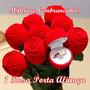 1 Rosa Porta Alianças, Anel Noivado - Veludo Vermelha