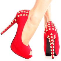 Zapatos Altos Taco Plataforma Rojo Dorado Usa 5.5 36 Stock