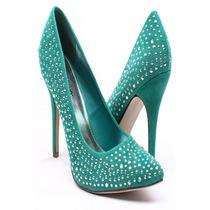 Zapatos En Punta Taco 9cm Importado Aqua Negro 6 36 Stock