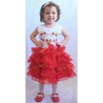 Vestido Infantil Moranguinho Modelo Luxo Festa Princesa