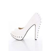 Zapatos Taco Plataforma Tachas Blanco 5.5 35.5 36 Stock