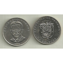 Moneda Panama 5 Balboas Año 1975 Belisario Porras