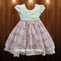 Vestido Floral Festa Luxo Infantil Borboleta 4 A 12 Anos