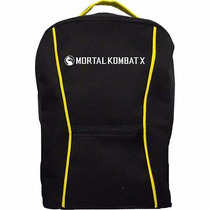 Mochila Mortal Kombat X Preta Amarela Game Ps4 Xbox One