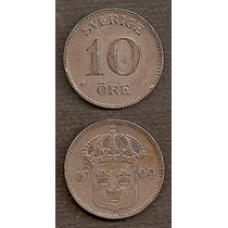 Moneda Suecia 10 Ore 1909 De Plata
