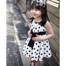 Vestido Polka De Lunares Niña Chiffón Solera 7 Años + Envió
