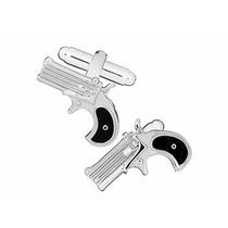 Mancuernillas Revolver Negro Policia Pistola Acero Traje