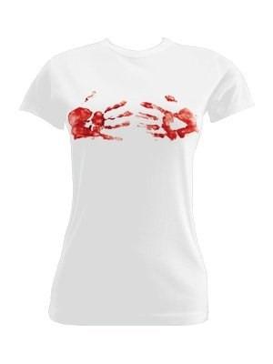 7ed74ff919f6b Camiseta De Mujer Con Manos De Sangre - Medium - U S 20