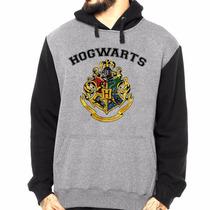 Blusa Moleton Com Capuz Hogwarts School Harry Potter