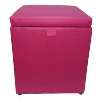 Puff Baú Decorativo Corino 40x40 Rosa Pink Até 100 Kilos