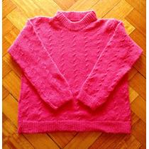 Sweater Tejido A Maquina En Lana Para Nena De 4 Años Fucsia