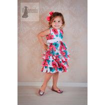 Vestido Festa Infantil Floral Luxo 1 A 14 Anos Com Tiara