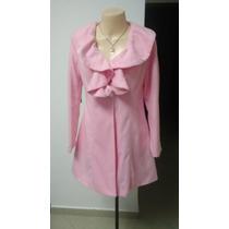 Casaco Rosa Sobretudo Lã