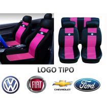 Jogo Capas De Banco Em Nylon Rosa Com Logo Vw Gol Fox Polo