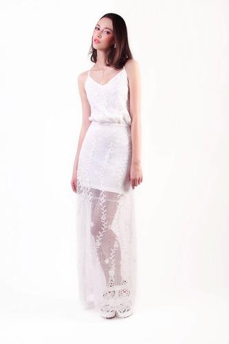 751a364fd43df Vestido Encaje Blanco Largo -   778.00 en Mercado Libre