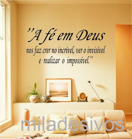 Adesivo Decorativo De Parede Frase A Fé Em Deus R 5199 Em