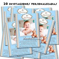 Bautismo 1er Añito: 20 Invitaciones Cumple + Cartel Regalo!