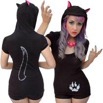 Blusa Camiseta Kreepsville Black Cat Hoddy Tunic Gato Gotham