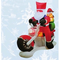Inflable Santa Claus En Moto Navideño Con Luz Led 150 Cm