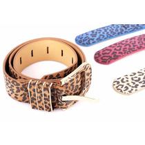 Cinturón Cuero Sintético Colores Animal Print Mujer.