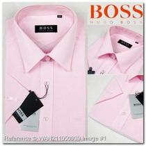 Camisa Social Hugo Boss Rosa Lisa C/ Bolso