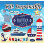 Kit Imprimible Nautico Navy Candy Bar Marinero Fiesta Mar P