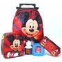 Mochila Mickey Mouse Rodinhas G + Lancheira Termica Infantil