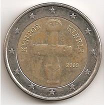 Chipre, 2 Euro, 2008. Bimetalica. Casi Sin Circular