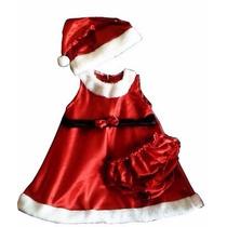Vestido Cetim Mamãe Noel Infantil Bebê Com Gorrinho De Natal