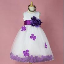 Vestido De Fiesta Infantil Purpura Con Detalle De Flores.