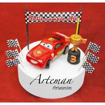 Rayo Mc Queen Combo Cars, En Porcelana Fría Adorno Torta