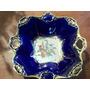 Bellisimo Plato De Fina Porcelana Azul Cobalto Filo De Oro