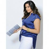 Blusa Feminina Branca De Seda Com Renda Mullet Plus Size Gg