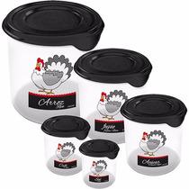 Conjunto Potes Para Guardar Alimentos Mantimentos Jogo 5 Pçs