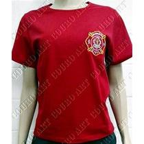 Camiseta Bombeiro Civil Baby Look - Vermelha - Brasão