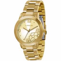 Relógio Lince Folheado A Ouro Lrg4284l Original