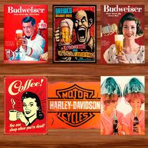 Placas Decorativas Vintage Retro Quadro Cervejas Bar Carros
