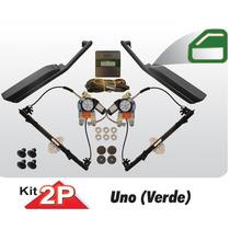 Kit Vidro Eletrico Uno 2 Portas Sensorizado Botoes Verde