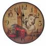 Reloj Para Pared Madera De 34 Cm Diámetro