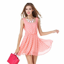 Vestido Importado Tipo Gasa Fresco Rosa Lunares