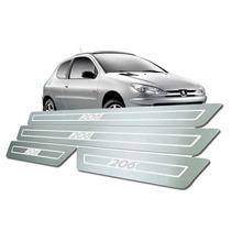 Kit Soleira 4 Portas Peugeot 206 Aço Inox Escovado