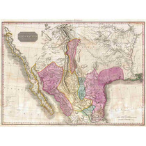 Lienzo Tela Mapa Sur California Texas Lousiana 1818 50 X68cm