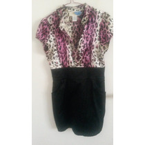 Vestido Corto Negro Y Animal Print Morado Talla S