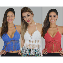 Top Blusa, Regata, Cropped Croche-trico Com Bojo E Franja