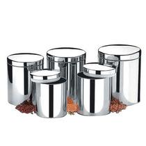Conjunto De Potes Em Inox Para Mantimentos 05 Peças Suprema