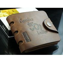 Carteira Couro Fino Masculina Leather Genuine Ótimo Presente