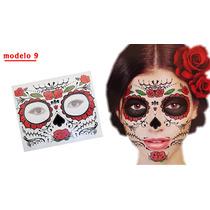 Catrina Tatuaje Temporal Disfraz Muertos Halloween Adorno