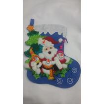 Bota Navideña Santa Claus Y Monos De Nieve