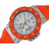 Reloj Montreal Hombre Ma-184 Caucho Naranja Original Oficial